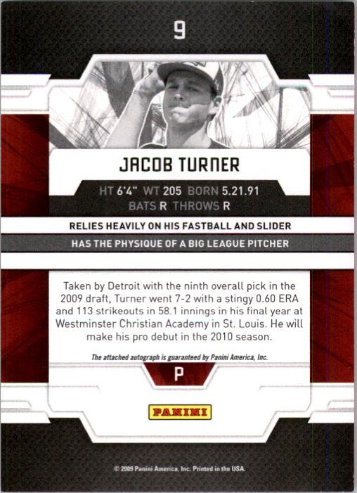 2009 Donruss Elite Extra Edition Signature Turn of the Century #9 Jacob Turner AU/799 back image
