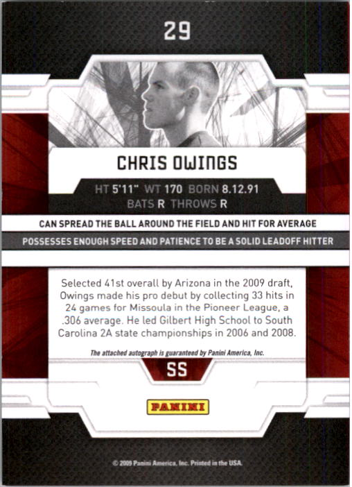 2009 Donruss Elite Extra Edition Signature Turn of the Century #29 Chris Owings AU/799 back image