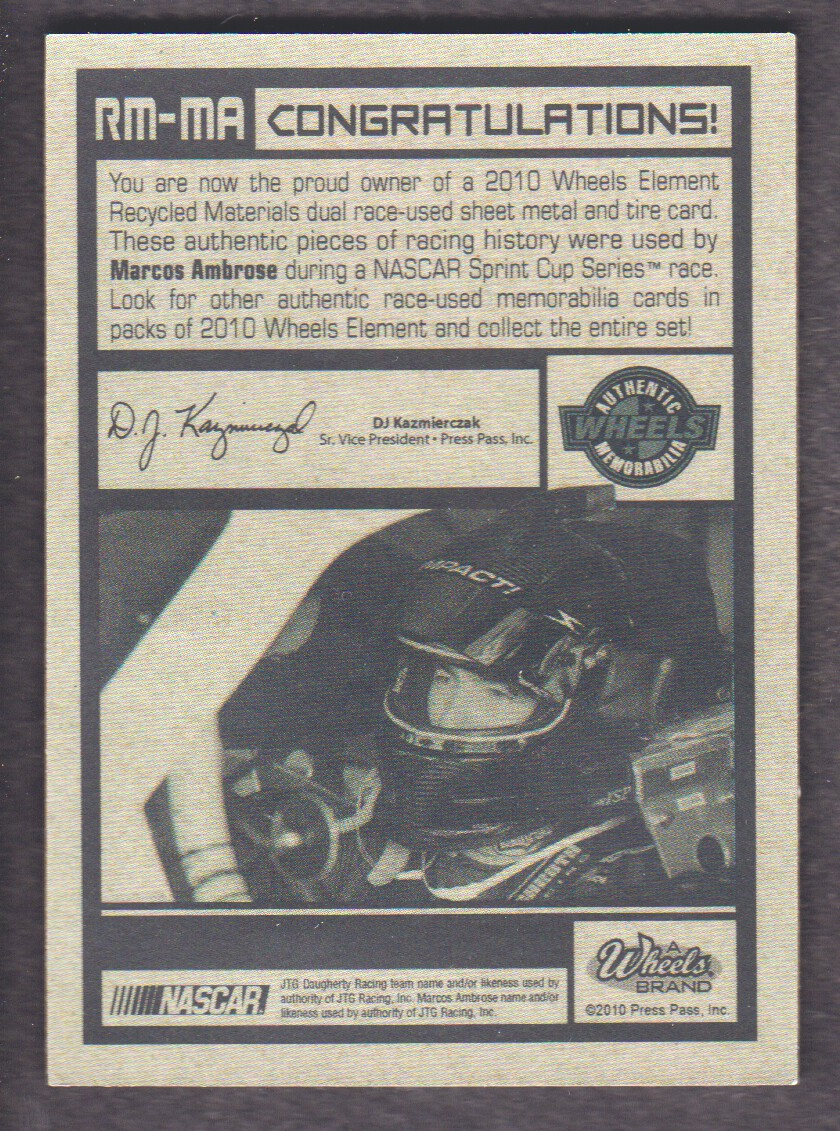 2010 Element Recycled Materials Green #RMMA Marcos Ambrose back image