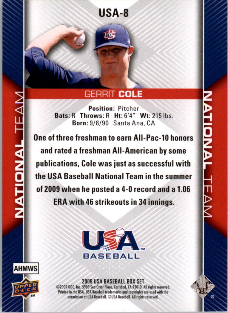 2009-10 USA Baseball #USA8 Gerrit Cole back image