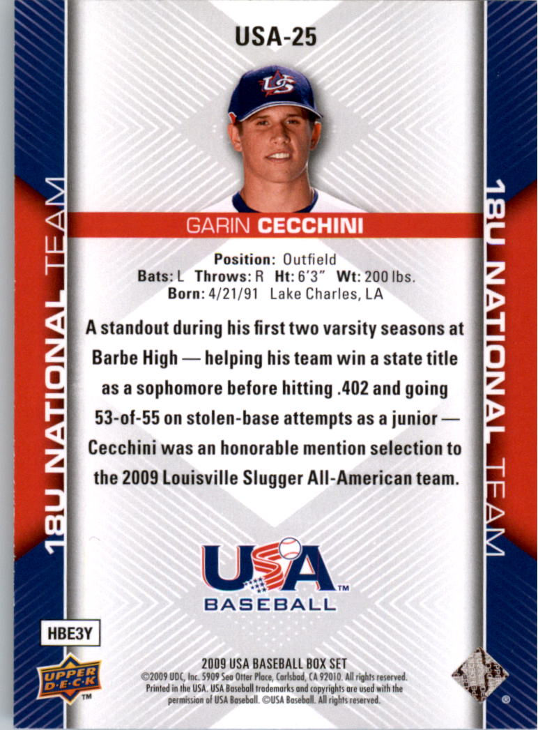 2009-10 USA Baseball #USA25 Garin Cecchini back image