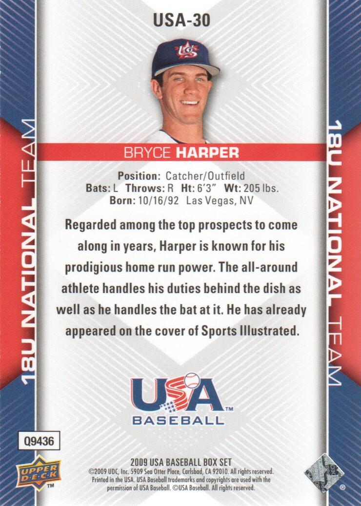 2009-10 USA Baseball #USA30 Bryce Harper back image