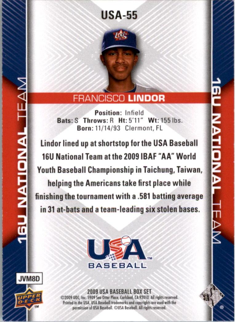 2009-10 USA Baseball #USA55 Francisco Lindor back image