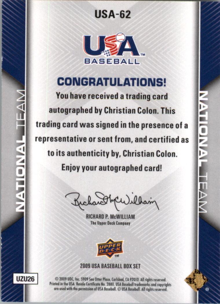 2009-10 USA Baseball #USA62 Christian Colon AU back image