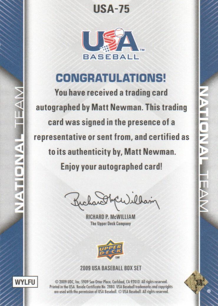 2009-10 USA Baseball #USA75 Matt Newman AU back image