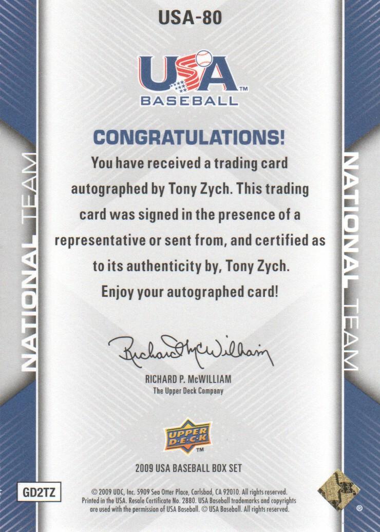 2009-10 USA Baseball #USA80 Tony Zych AU back image