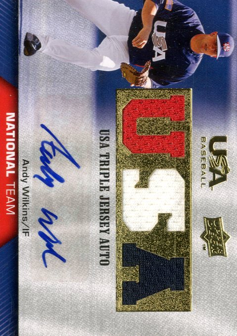 2009-10 USA Baseball National Team Jersey Autographs #AW Andy Wilkins