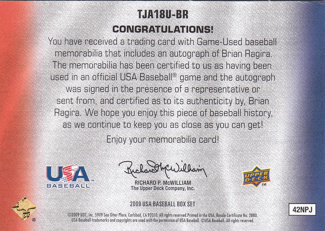 2009-10 USA Baseball 18U National Team Jersey Autographs #BR Brian Ragira/149 back image