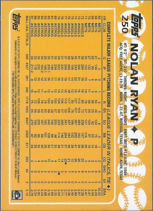 2010 Topps Cards Your Mom Threw Out Original Back #250 Nolan Ryan 88 back image