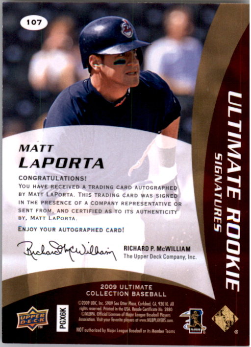 2009 Ultimate Collection Gold Rookie Signatures #107a Matt LaPorta/45 back image
