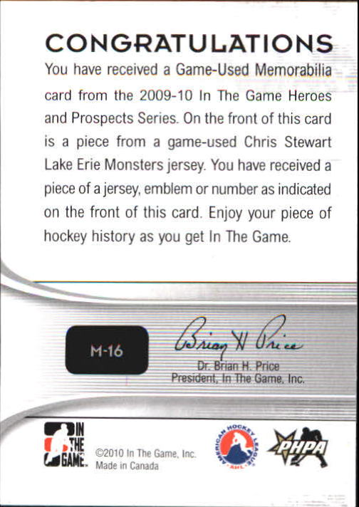 2009-10 ITG Heroes and Prospects Game Used Emblems Silver #M16 Chris Stewart back image