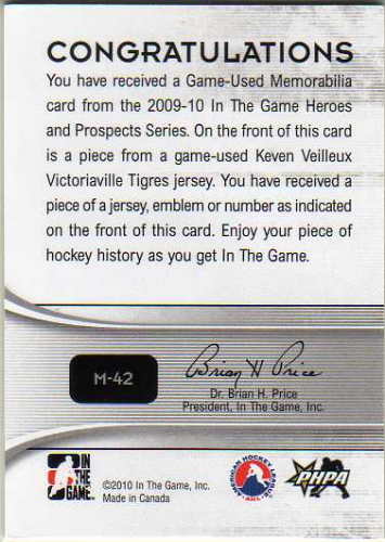 2009-10 ITG Heroes and Prospects Game Used Numbers Silver #M42 Keven Veilleux back image