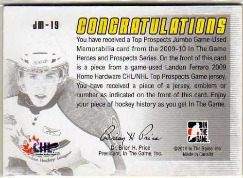 2009-10 ITG Heroes and Prospects Top Prospects Game Used Emblems Silver #JM19 Landon Ferraro back image