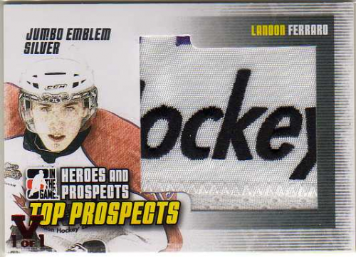 2009-10 ITG Heroes and Prospects Top Prospects Game Used Emblems Silver #JM19 Landon Ferraro