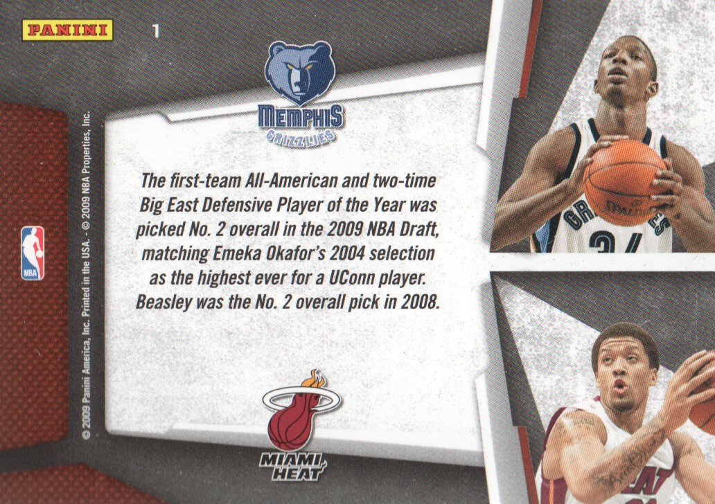 2009-10 Playoff Contenders Draft Tandems #1 Hasheem Thabeet/Michael Beasley back image