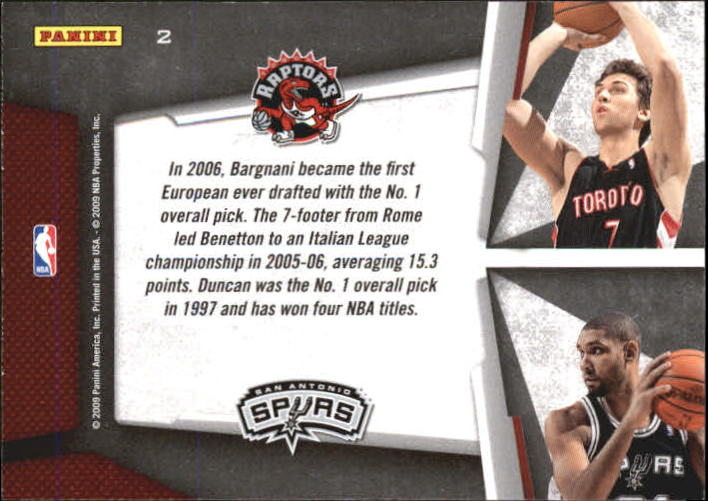 2009-10 Playoff Contenders Draft Tandems #2 Andrea Bargnani/Tim Duncan back image