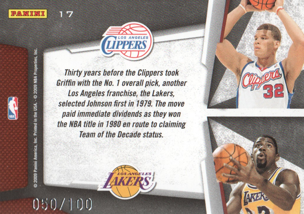 2009-10 Playoff Contenders Draft Tandems Gold #17 Blake Griffin/Magic Johnson back image