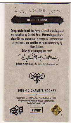 2009-10 Upper Deck Champ's Signatures #CSDR Derrick Rose back image