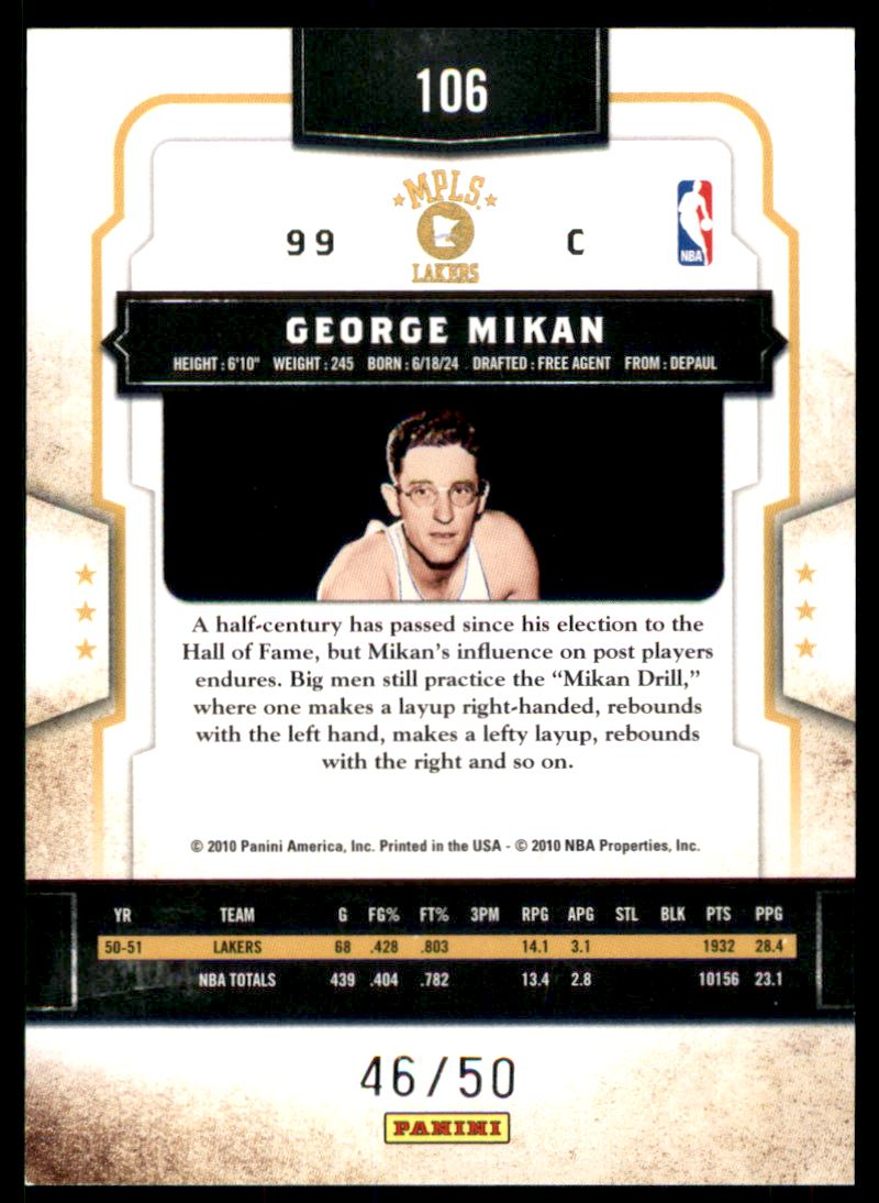 2009-10 Classics Timeless Tributes Gold #106 George Mikan back image