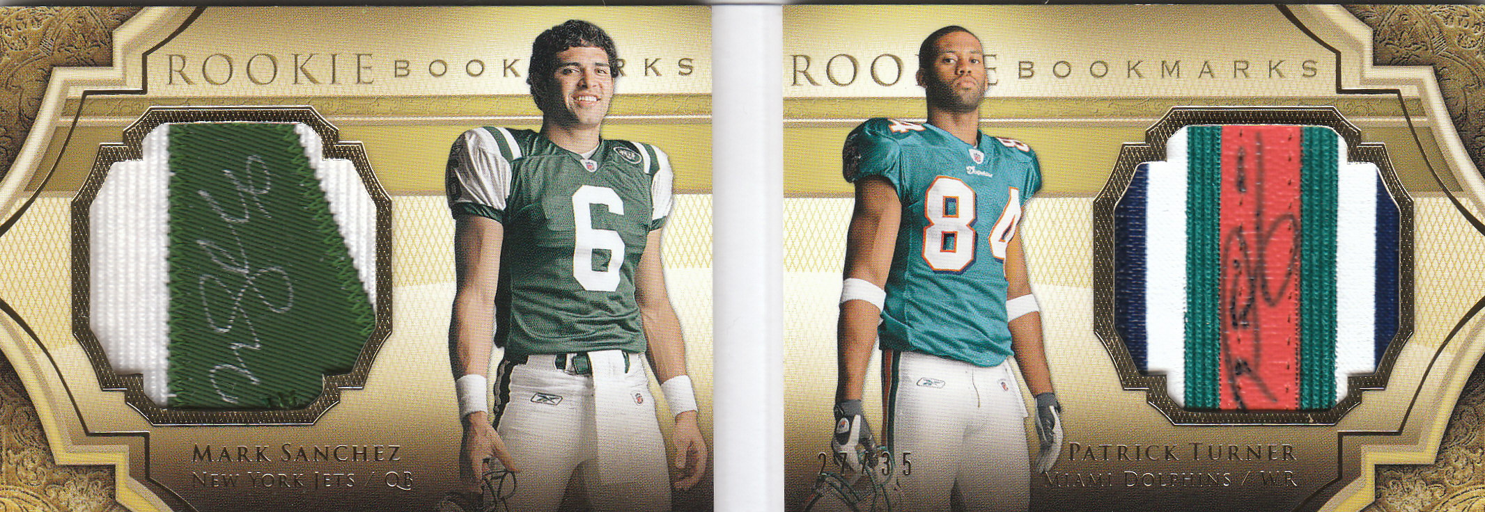 2009 Exquisite Collection Rookie Bookmark Patch Autographs #TS Mark Sanchez/35/Patrick Turner back image