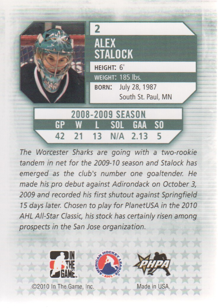 2009-10 Between The Pipes #2 Alex Stalock back image
