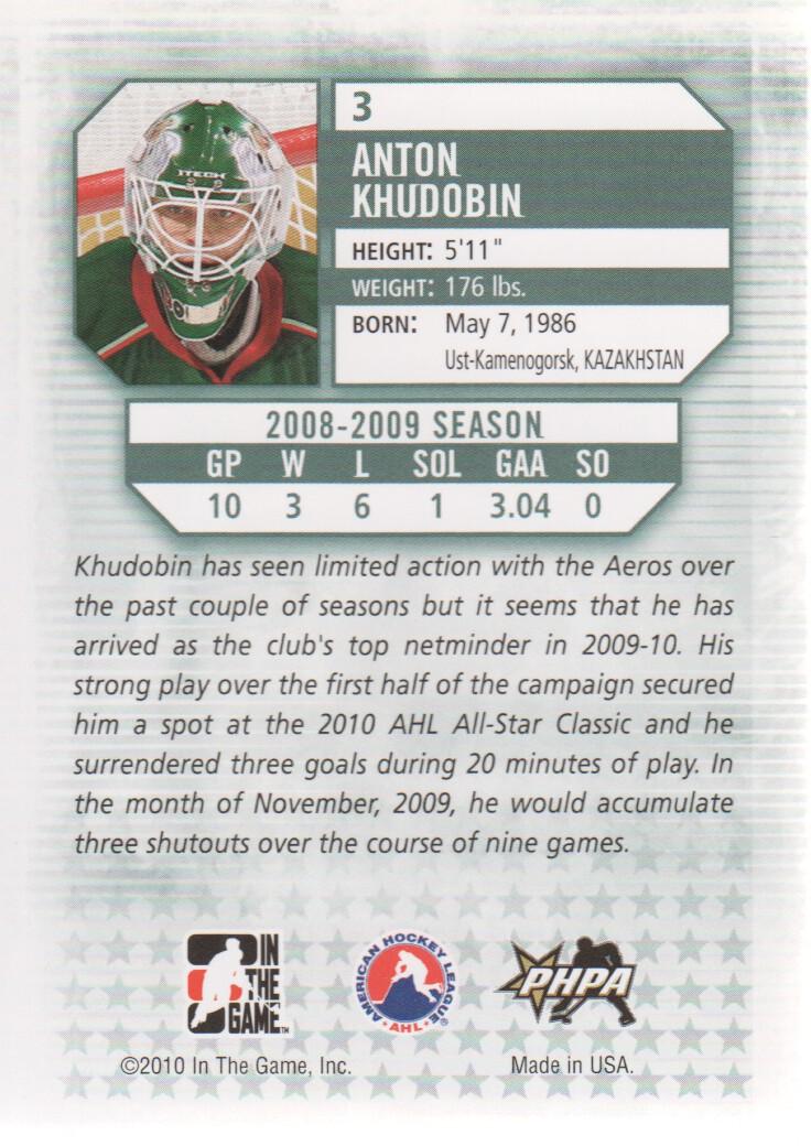 2009-10 Between The Pipes #3 Anton Khudobin back image