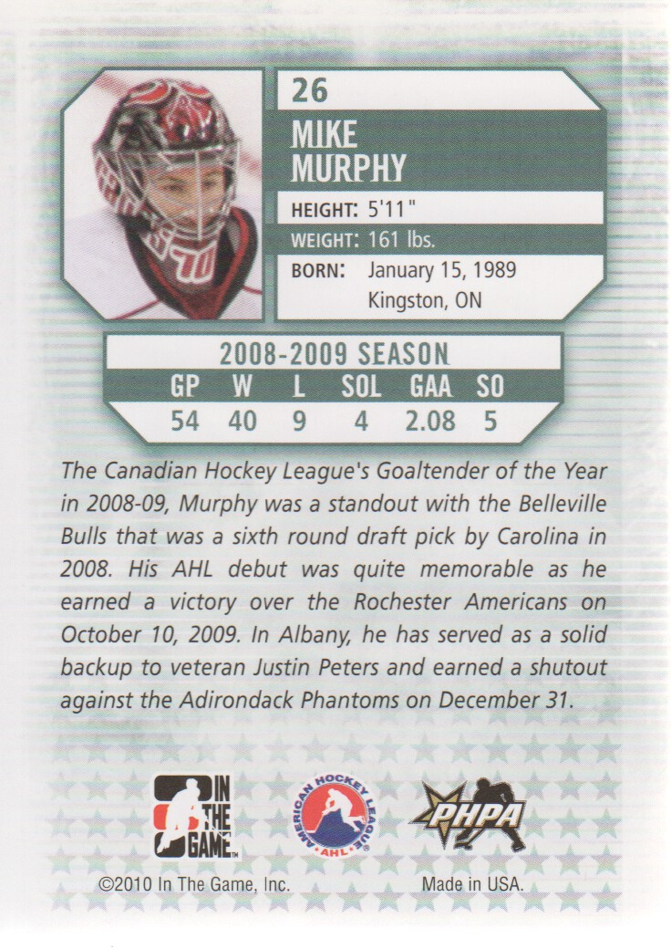 2009-10 Between The Pipes #26 Mike Murphy back image