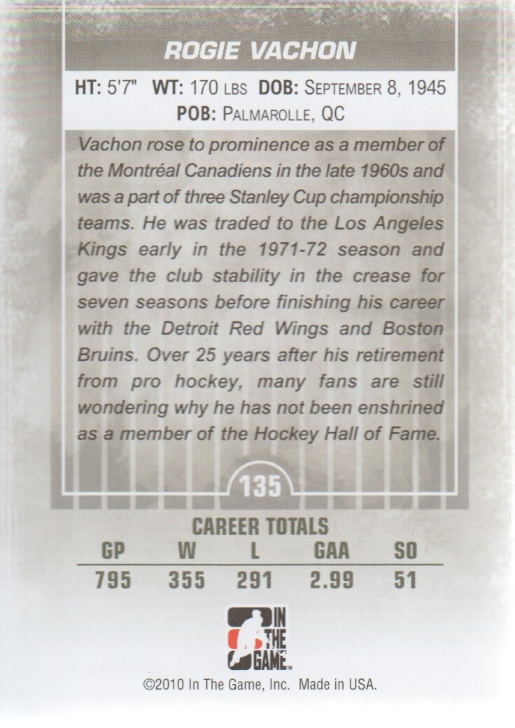 2009-10 Between The Pipes #135 Rogie Vachon back image