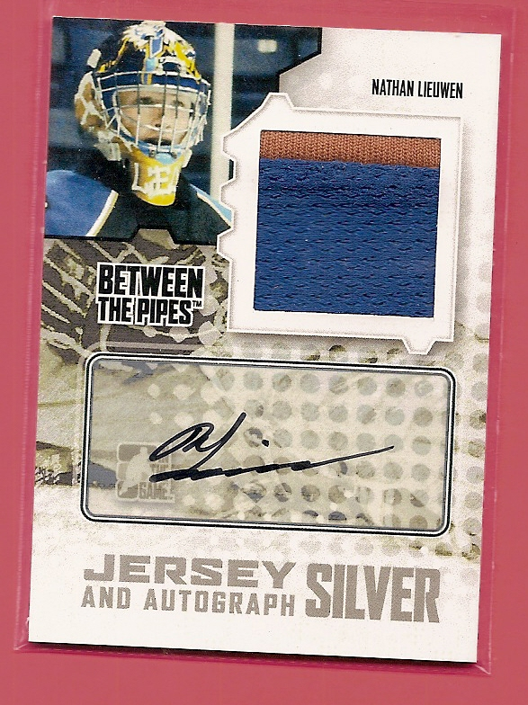 2009-10 Between The Pipes Jerseys Autographs Silver #MANL Nathan Lieuwen