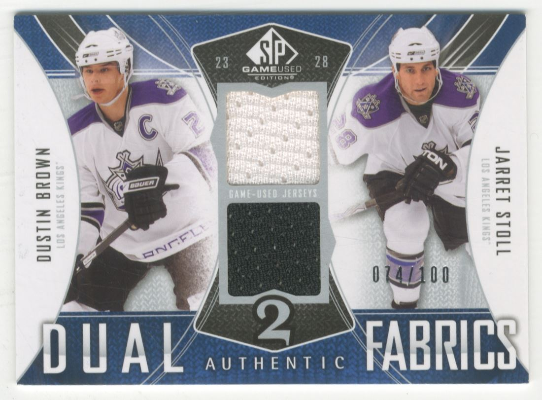 wholesale dealer 7f47d f42bc Details about 2009-10 SP Game Used Authentic Fabric Dual Jarret Stoll  Dustin Brown Jersey /100