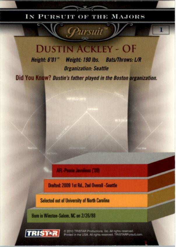 2010 TRISTAR Pursuit #1b Dustin Ackley VAR SP back image