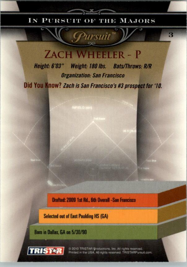 2010 TRISTAR Pursuit #3 Zach Wheeler back image