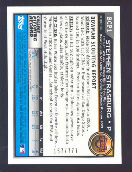 2010 Bowman Chrome Prospects Refractors #BCP1 Stephen Strasburg back image