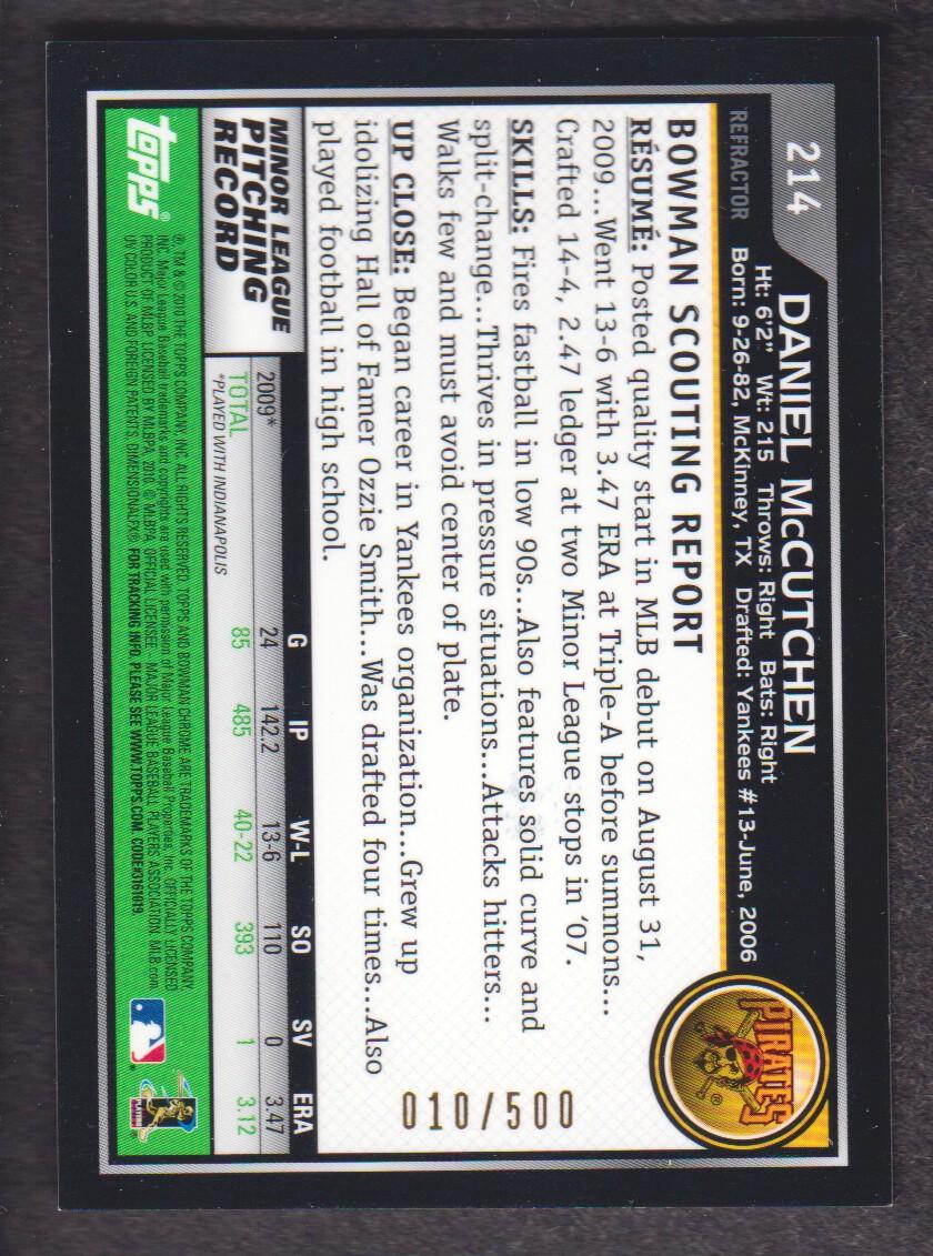 2010 Bowman Chrome Refractors #214A Daniel McCutchen AU back image
