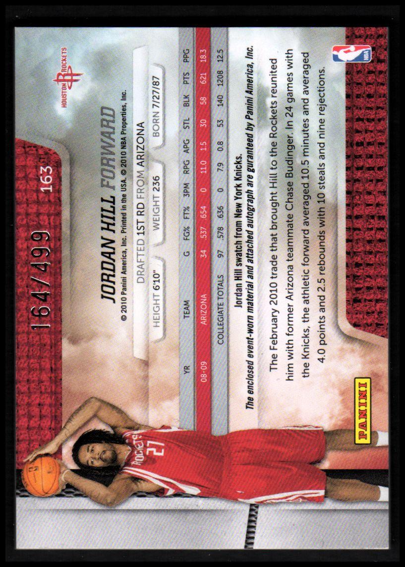 2009-10 Absolute Memorabilia #163 Jordan Hill JSY AU/499 RC back image