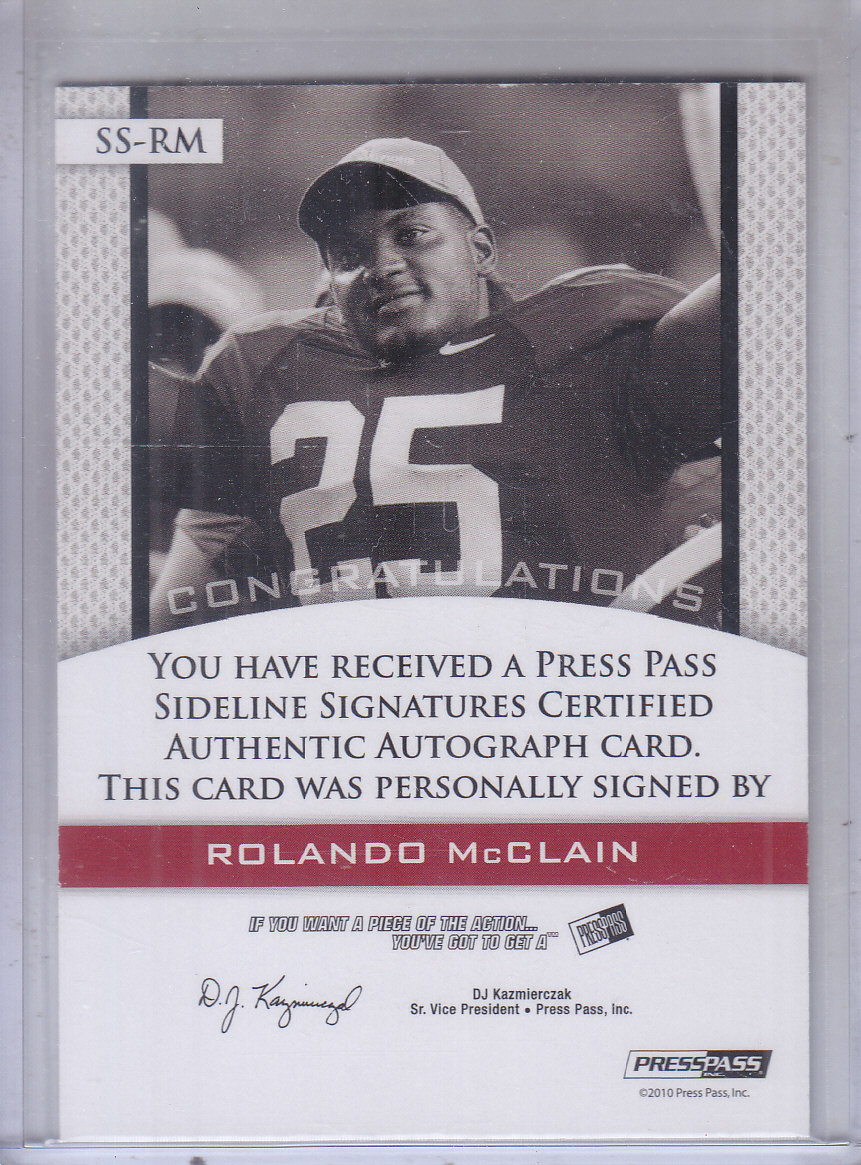 2010 Press Pass PE Sideline Signatures Ruby Red Ink #SSRM2 Rolando McClain/65* back image