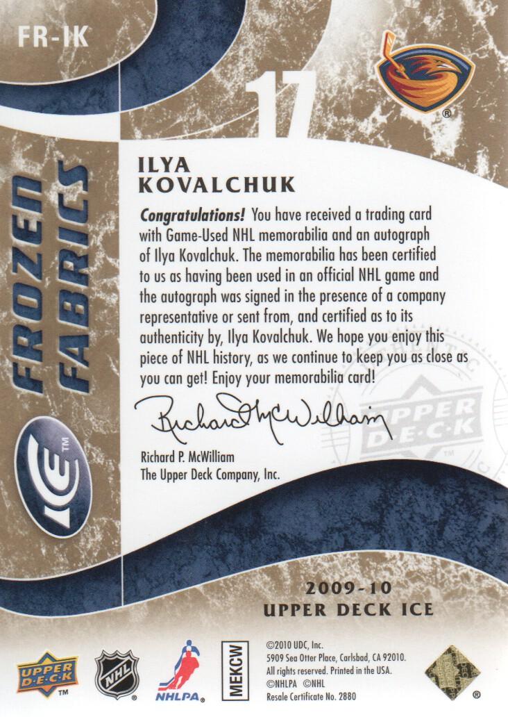 2009-10 Upper Deck Ice Frozen Fabrics Autographs #FRIK Ilya Kovalchuk back image