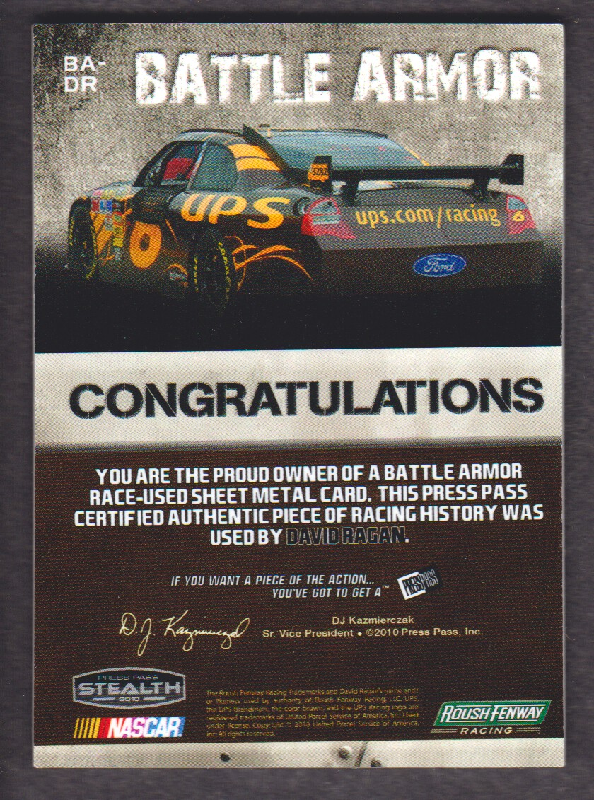 2010 Press Pass Stealth Battle Armor Silver #BADR1 David Ragan/275 back image