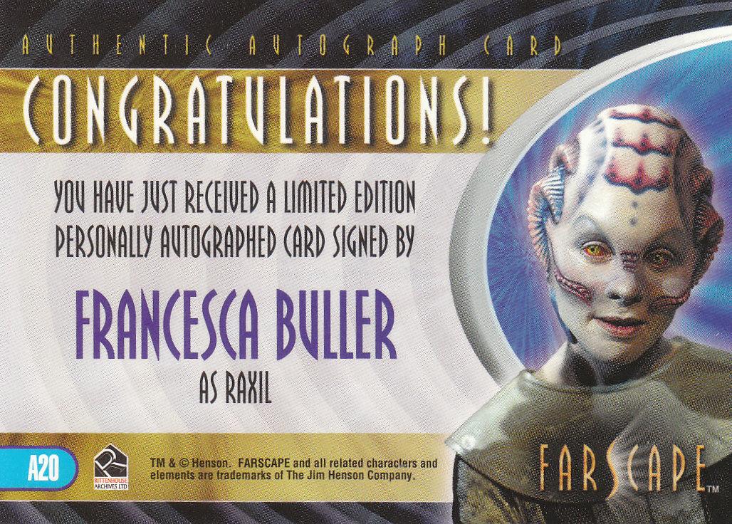 2002 Farscape Season Three Autographs #A20 Francesca Buller back image