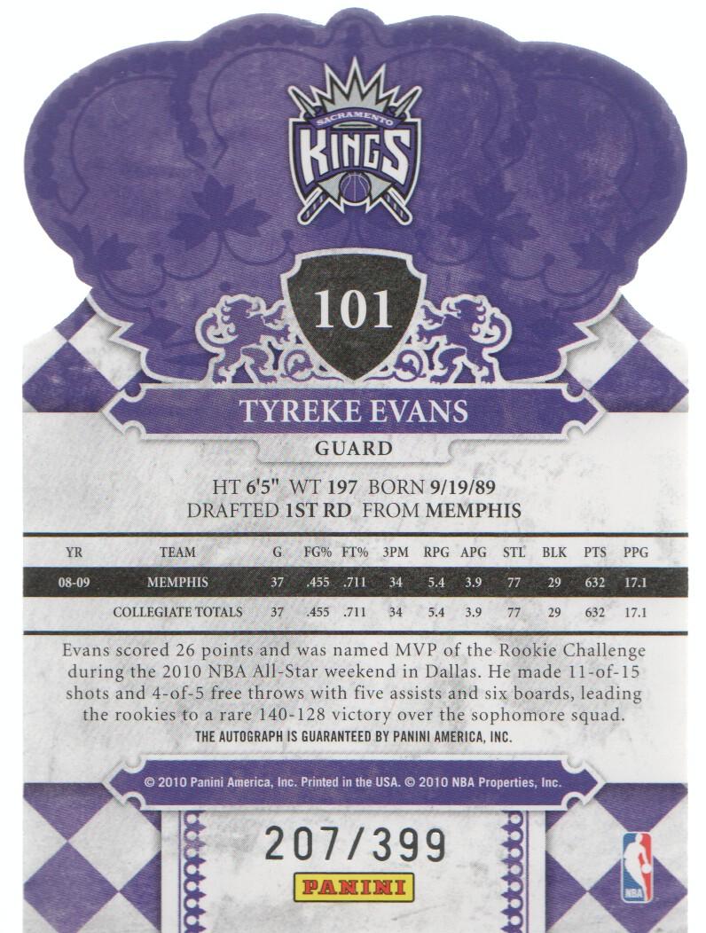 2009-10 Crown Royale #101 Tyreke Evans AU/399 RC back image