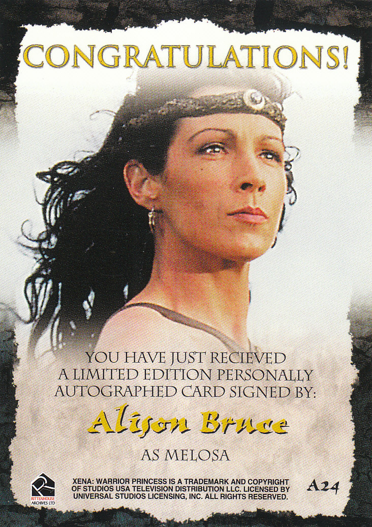 2002 Xena Beauty and Brawn Autographs #A24 Alison Bruce back image