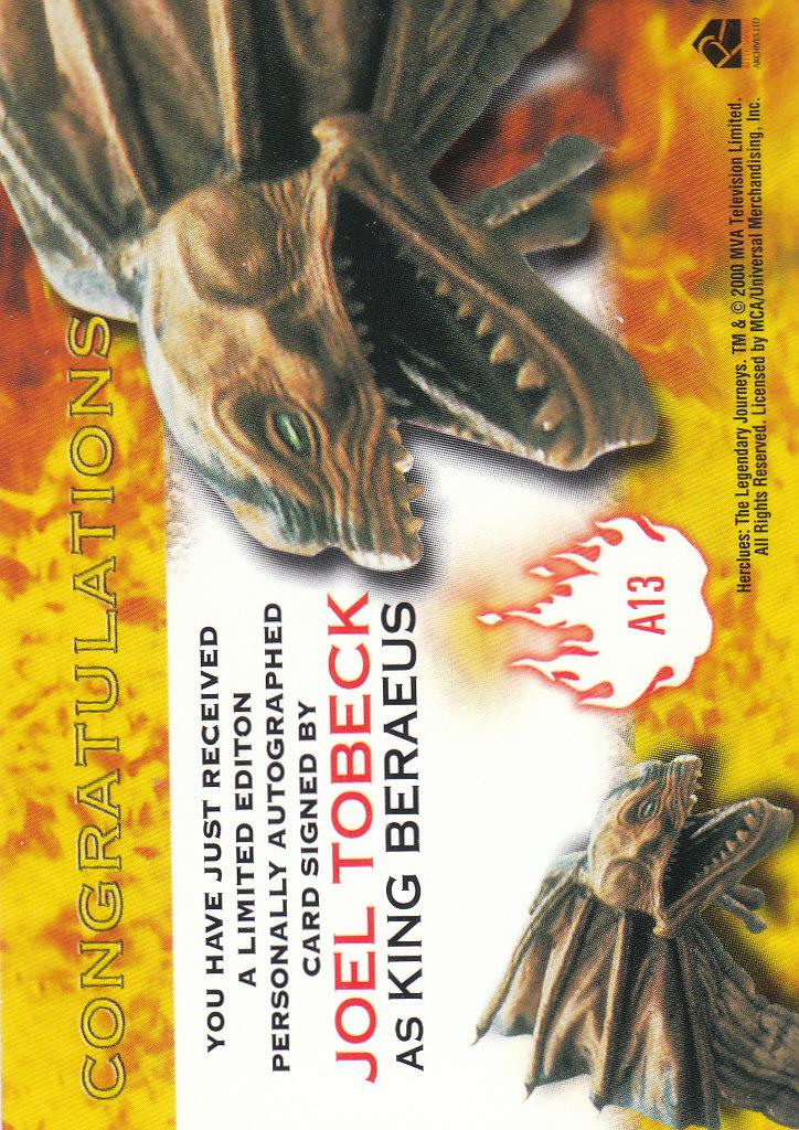 2001 Hercules The Complete Journeys Autographs #A13 Joel Tobeck back image