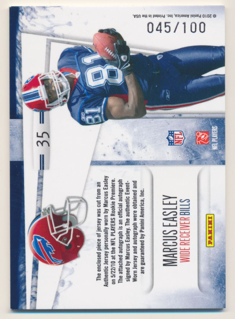 2010 Rookies and Stars Dress for Success Jerseys Autographs #35 Marcus Easley/100 back image