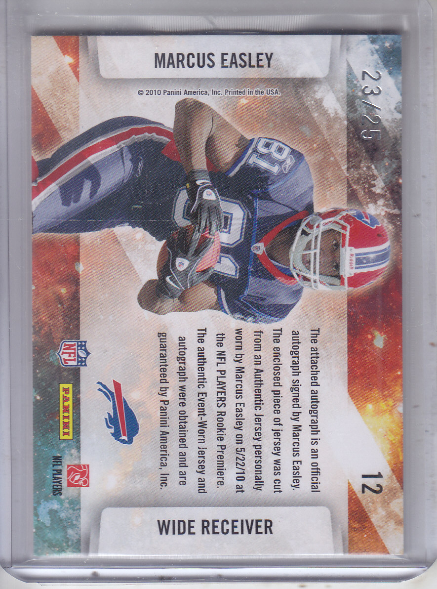 2010 Absolute Memorabilia Star Gazing Materials Autographs #12 Marcus Easley back image