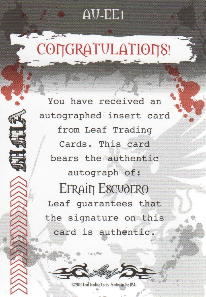 2010 Leaf MMA Autographs Red #AUEE1 Efrain Escudero back image