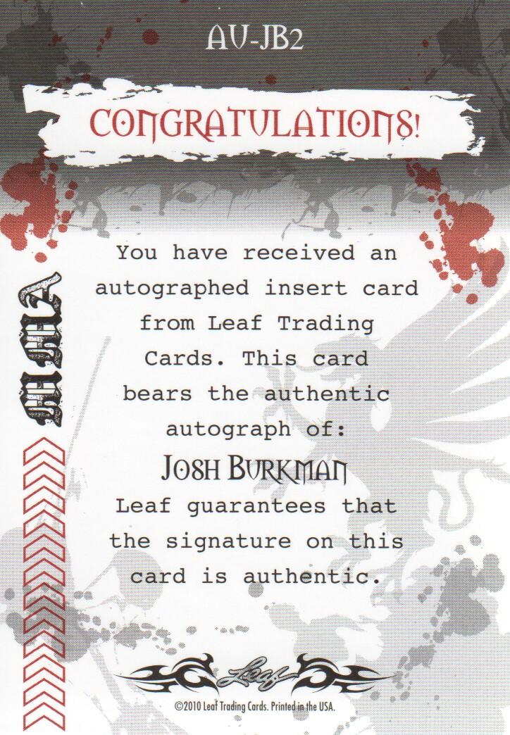 2010 Leaf MMA Autographs Red #AUJB2 Josh Burkman back image