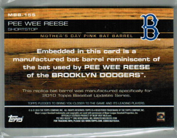 2010 Topps Update Manufactured Bat Barrel Pink #MB155 Pee Wee Reese back image