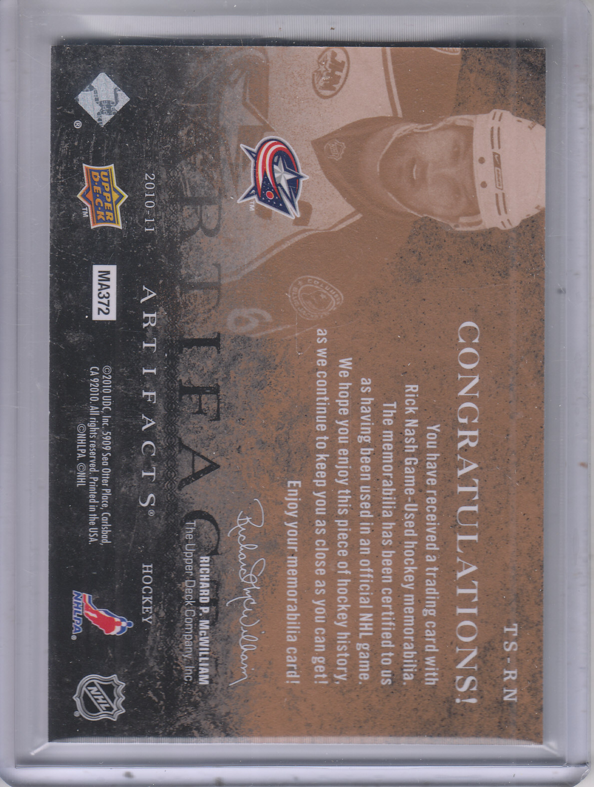 2010-11 Artifacts Treasured Swatches #TSRN Rick Nash back image