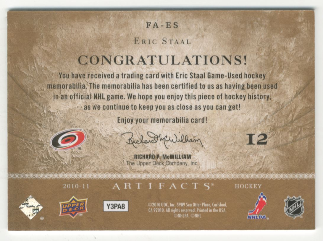2010-11 Artifacts Frozen Artifacts #FAES Eric Staal back image