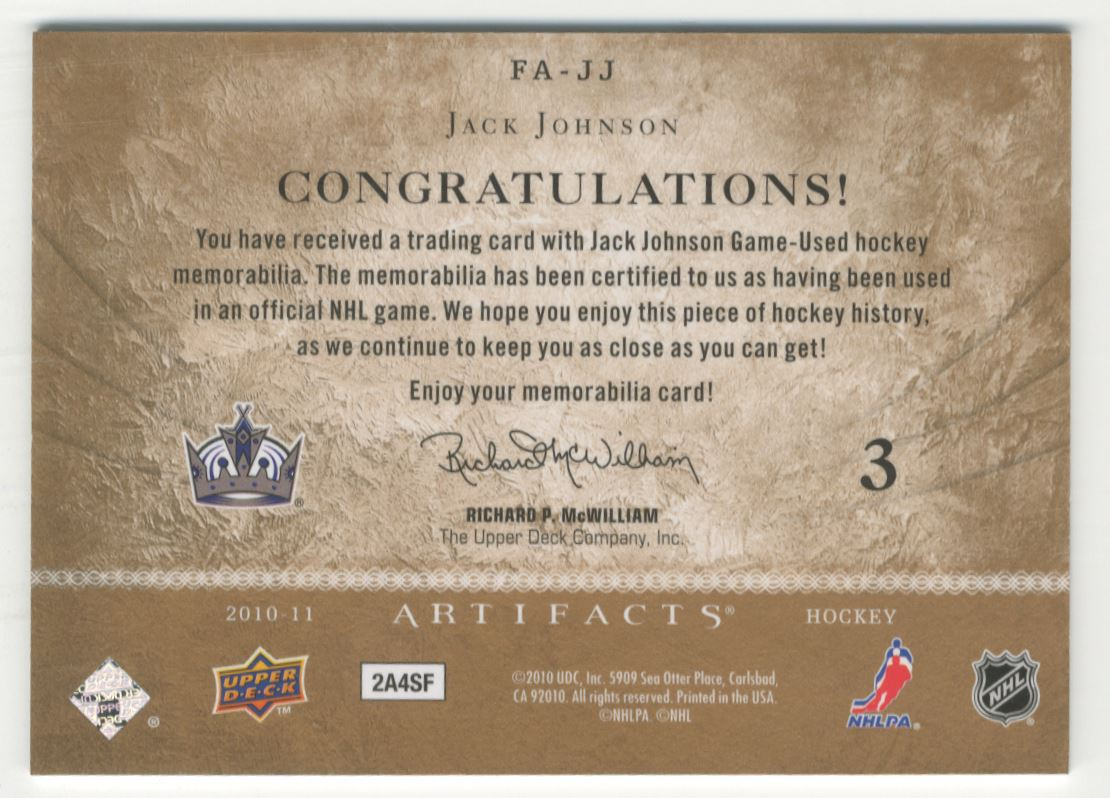 2010-11 Artifacts Frozen Artifacts #FAJJ Jack Johnson back image